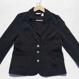 DKNY Black Double Breasted Fitted Stretch Jacket